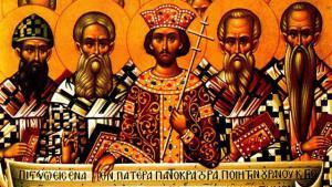 Icono de los Padres en el Primer Concilio de Nicea